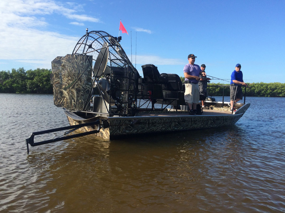 Gulf coast airboat charters for Flounder boat air motor